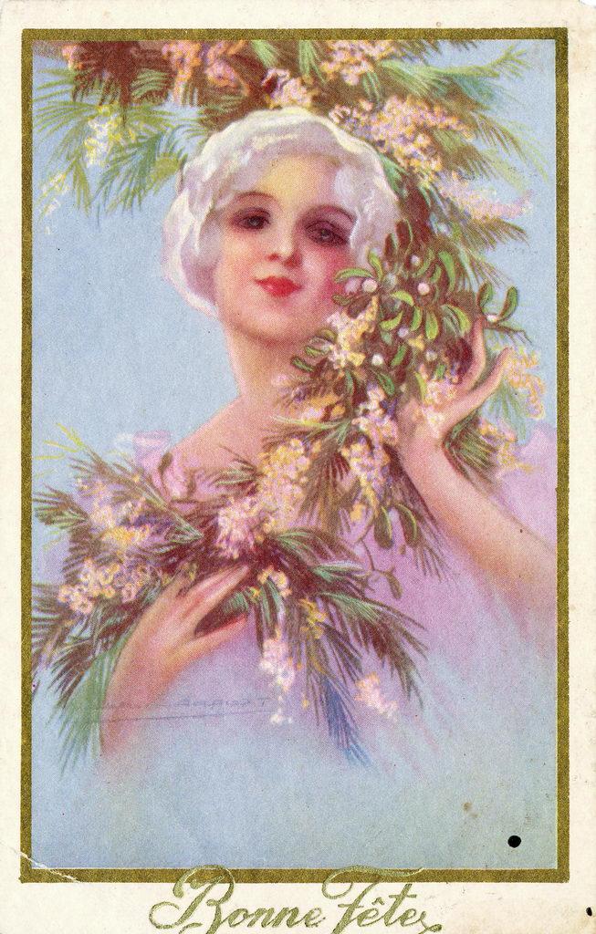 alte Karte zum Geburtstag, Frau, Frankreich, 1935