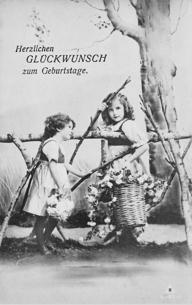 alte Karte zum Geburtstag, Mädchen, sw, 1934