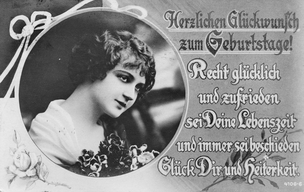 alte Geburtstagskarte, Frau, Gedicht, sw, 1917