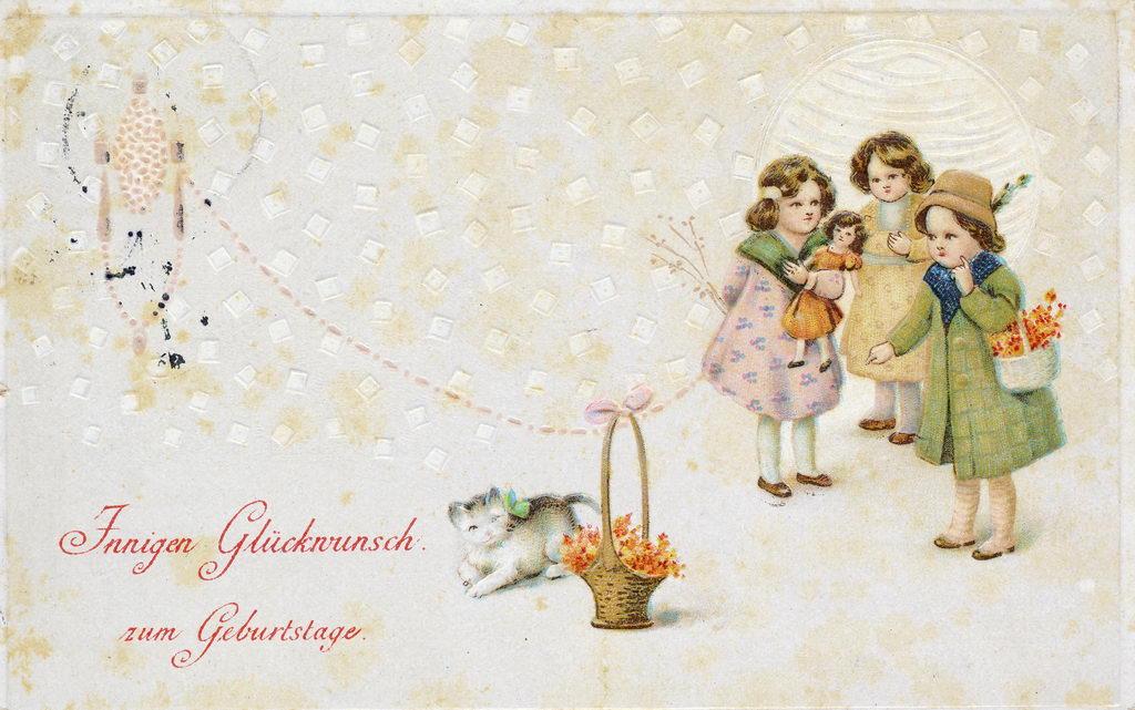 alte Geburtstagskarte, Mädchen, Katze, 1915