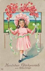 alte Karte zum Geburtstag, Mädchen, Blumen, 1930