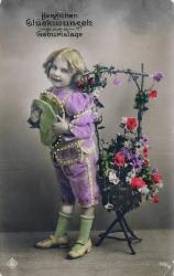 alte Karte zum Geburtstag, Mädchen, Blumen, coloriert, 1911