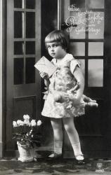 alte Karte zum Geburtstag, Mädchen, Brief, sw, 1917