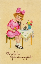alte Geburtstagskarte, Mädchen, Telefon, 1930