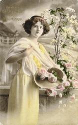 alte Geburtstagskarte, Frau, Blumen, coloriert 1919