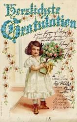 alte Geburtstagskarte, Mädchen, Blumen, 1900