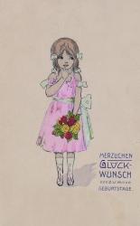 alte Geburtstagskarte, Mädchen, Jugendstil, Blumen, 1903