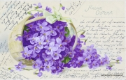 Karte zu Ostern, Blumen, 1904, lila