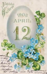 Karte zu Ostern, Ei,1903, Osterei