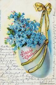 Karte zu Ostern, 1901, Osterei, Glitzer