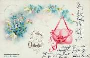 Karte zu Ostern, Osterei, erz, pink, 1887