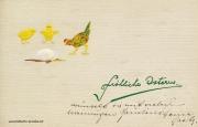Karte zu Ostern, Ei, Kücken, Huhn