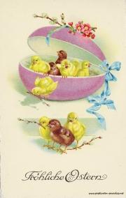 Karte zu Ostern,   Ei, Kücken, Osterei