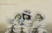 Karte zu Ostern,  Mädchen, Osterei, Schaf, 1903