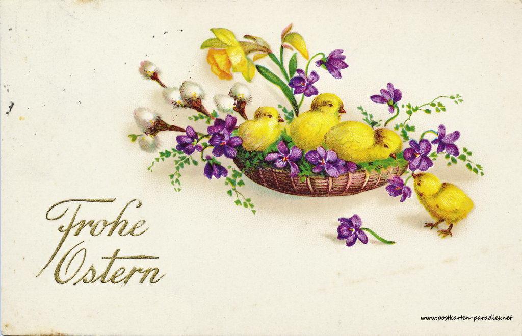 Karte zu Ostern,  Kücken, 1933