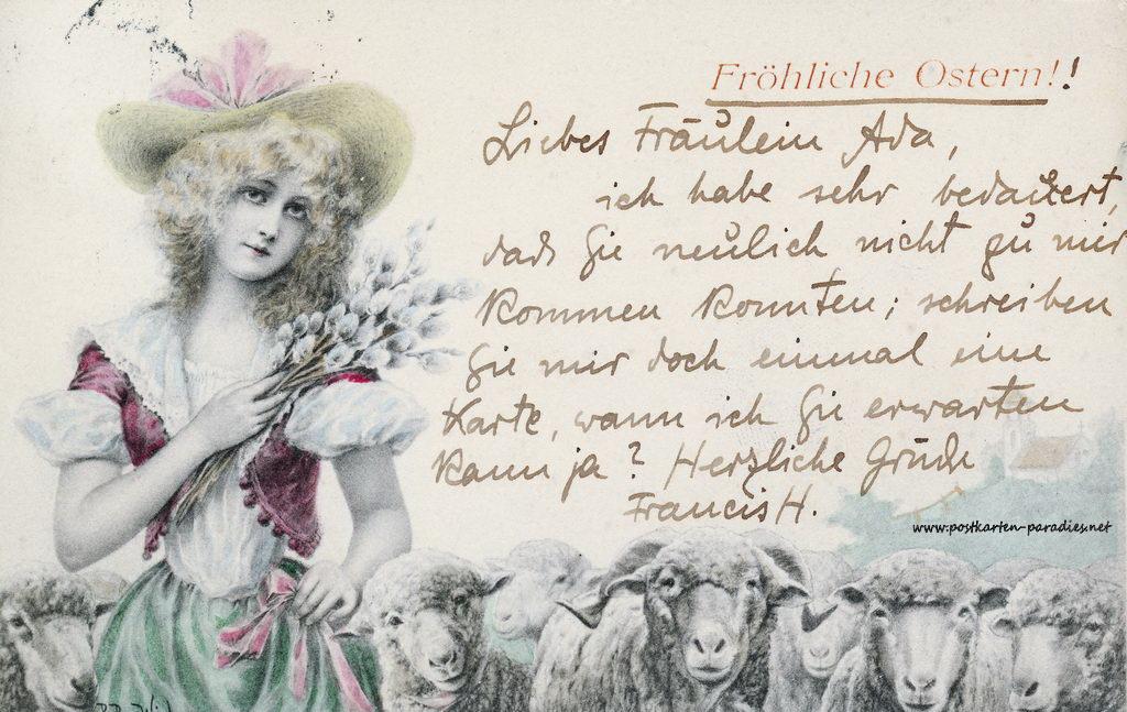 Karte zu Ostern,  Mädchen, Osterei, Schaf, 1904