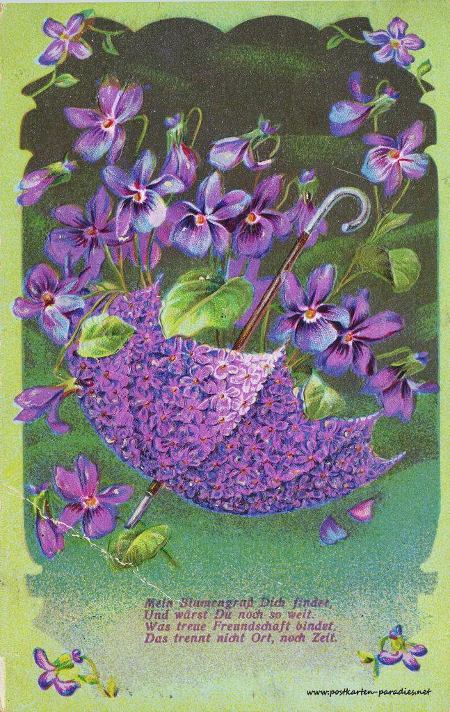 Grusskarte, Blumen, Schirm, lila, grün, Vergissmeinicht,