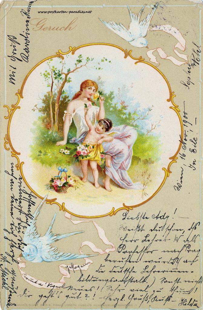 Grusskarte, Duftkarte, Frau, Kind, Schwalbe, 1900