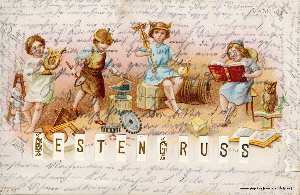 Grusskarte, Schiebekarte, Heinzelmännchen, 1901