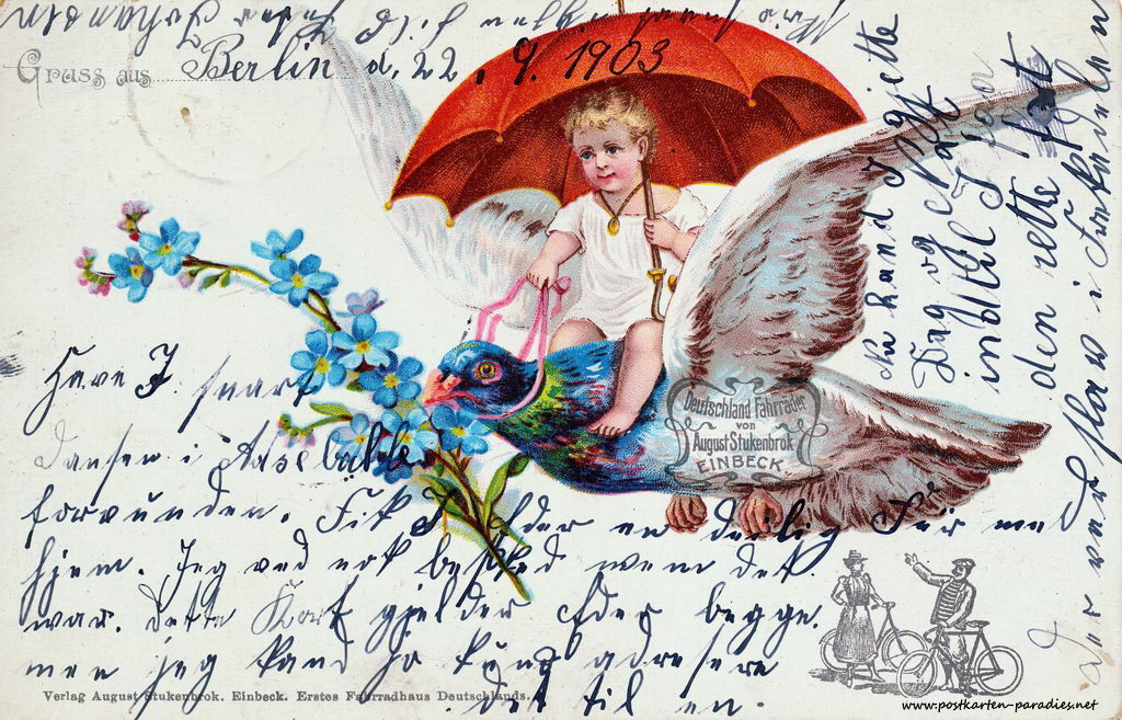 russkarte, Kind, Taube, Vergissmeinicht, Schirm, August Stukenbrock, 1903