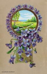 Grusskarte, Ansicht, Blüten, lila, 1907