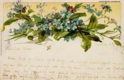 Grusskarte, Blumenstraß, Vergissmeinicht, 1902