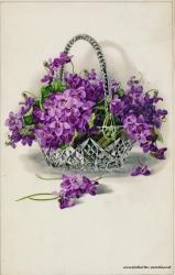 Grusskarte, Blumenstrauß, Blumenschale, lila, 1914