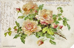 Grusskarte, Duftkarte, Rosen, 1900