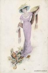 Grusskarte, Frau, Hühner,1917