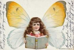Grusskarte, Mädchen, Buch, Schmetterlingsflügel, 1901