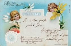 Grusskarte, Moosburg, Blütenkinder, Gedicht, 1900
