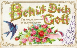 Grusskarte, Rose, Schwalbe, Gedicht, 1916