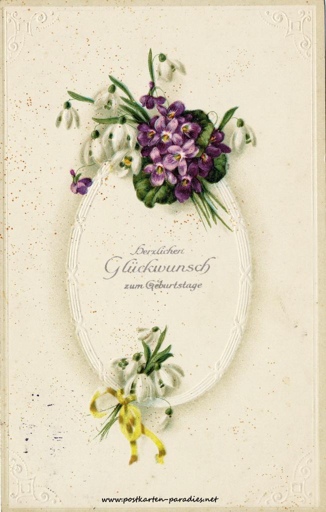 Geburtstagsgrüße,Postkarte Blumen violett Maiglöckchen 1916