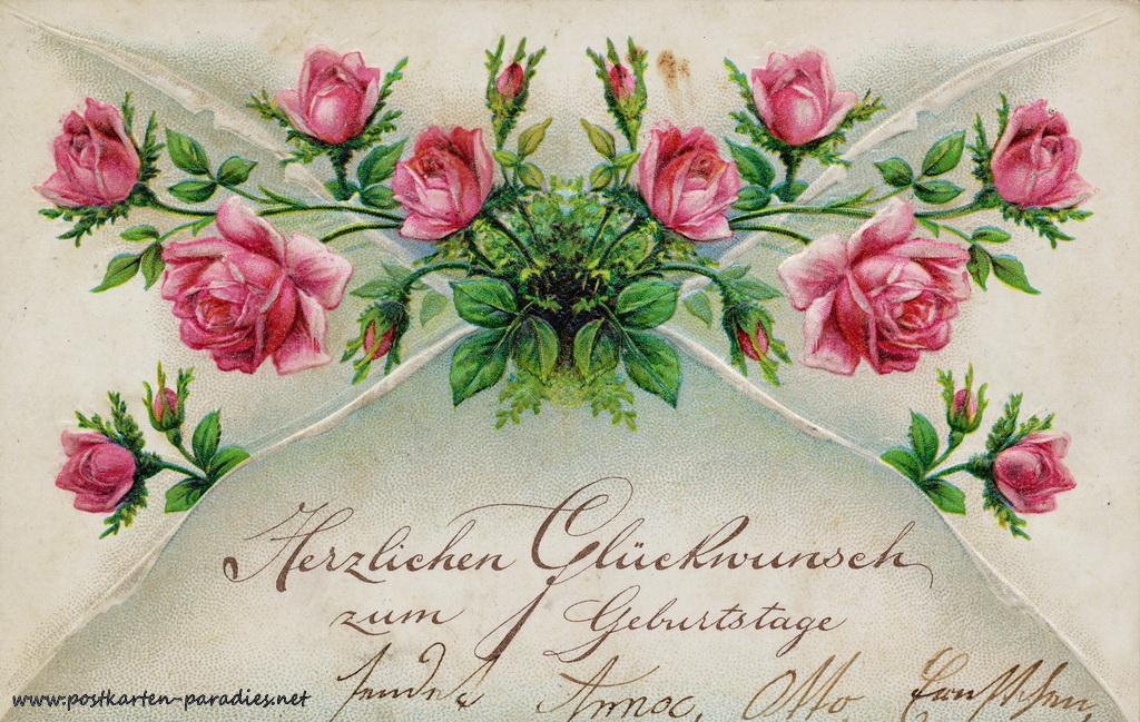 Geburtstagsgrüße,Postkarte Blumen rot Rosen 1908