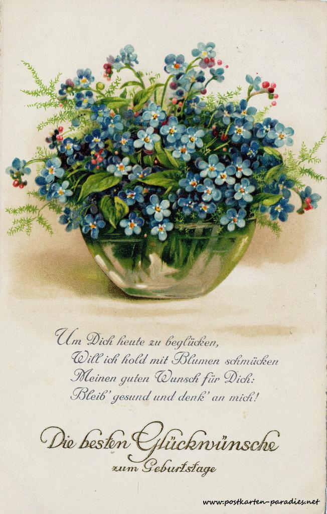 Geburtstagsgrüße,Postkarte Vergissmeinnicht Gedicht, 1926