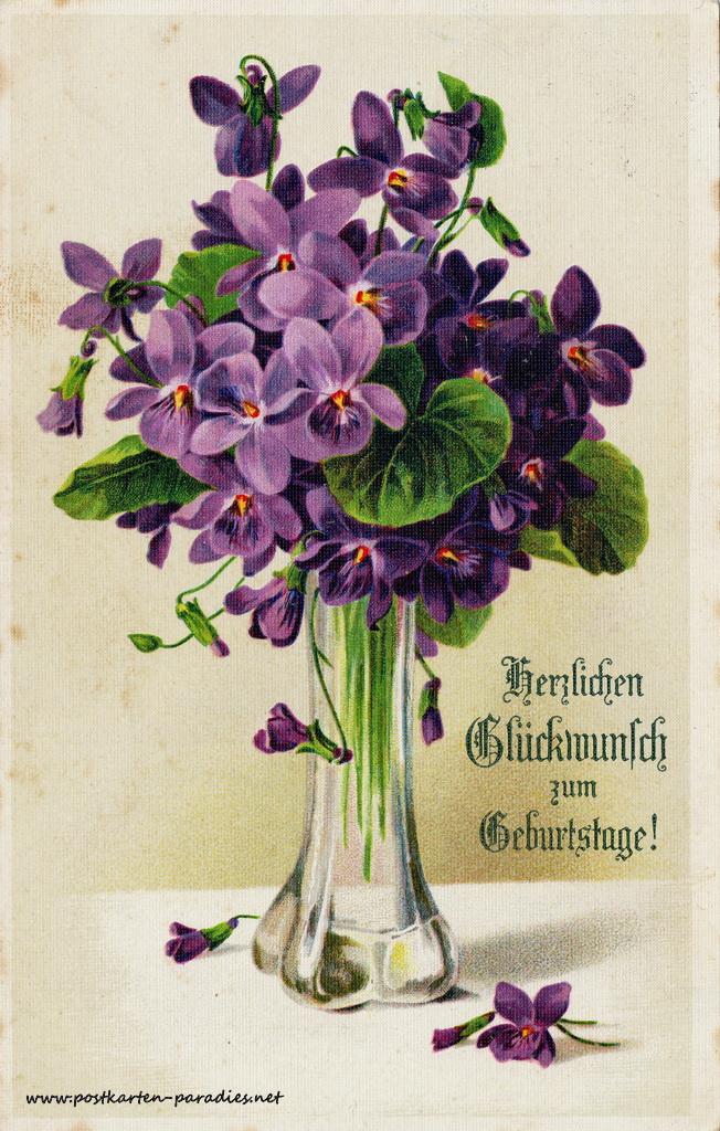 Geburtstagsgrüße,Postkarte Blumen violett Jugendstil 1915