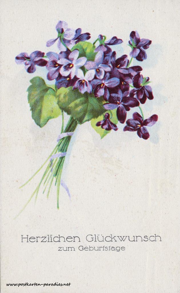 Geburtstagsgrüße,Postkarte Blumen violett