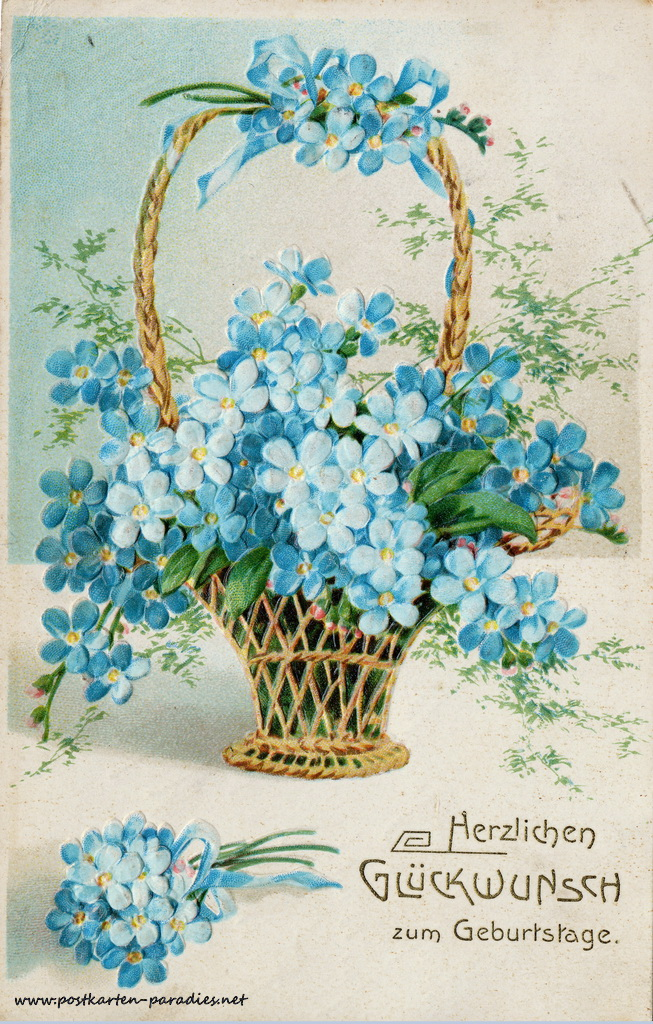 Geburtstagsgrüße,Postkarte Blumenkorb vergissmeinnicht1906