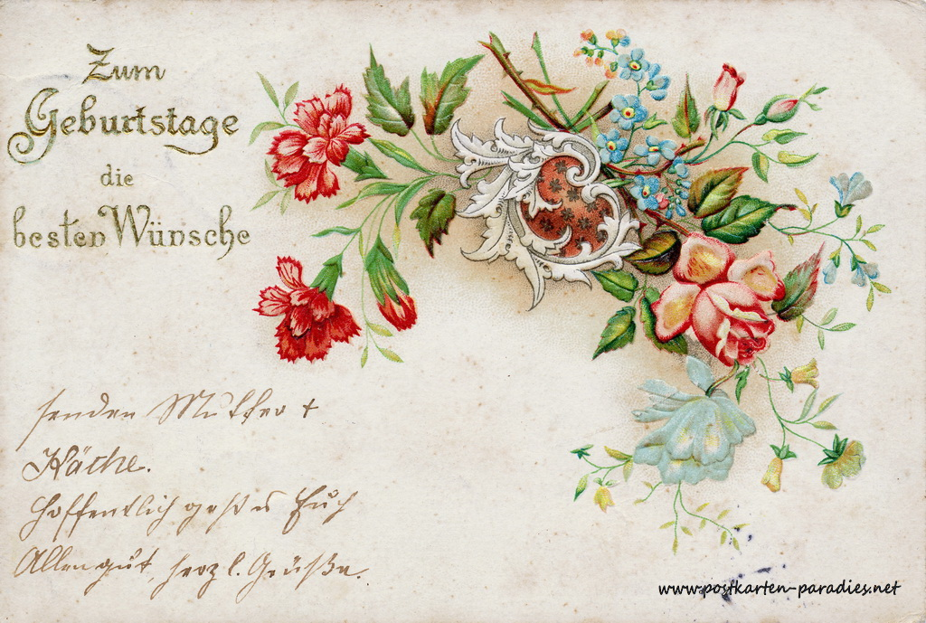 Geburtstagsgrüße,Postkarte rot 1903