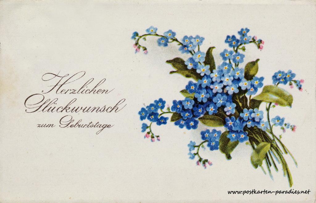Geburtstagsgrüße,Postkarte vergissmeinnicht, 1912