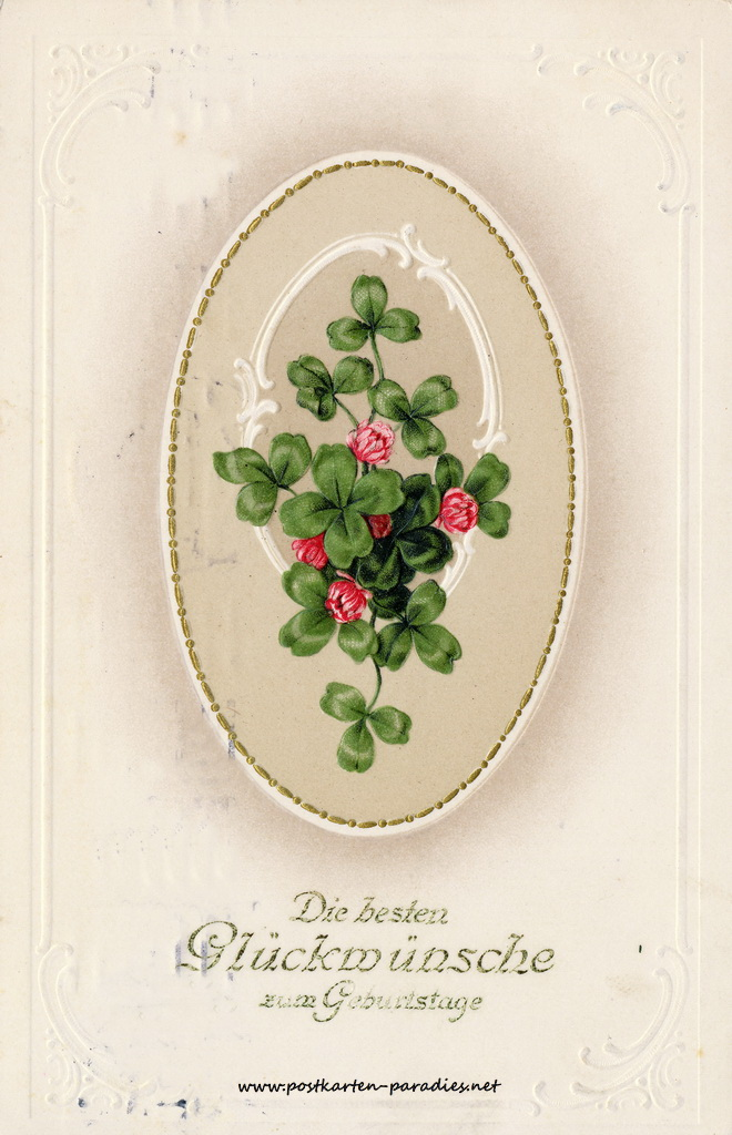 Geburtstagsgrüße,Postkarte Kleeblatt 1912