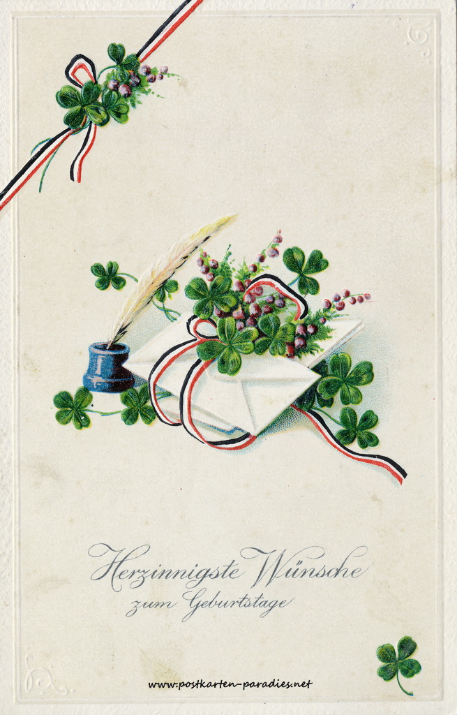 Geburtstagsgrüße,Postkarte  Kleeblatt 1905