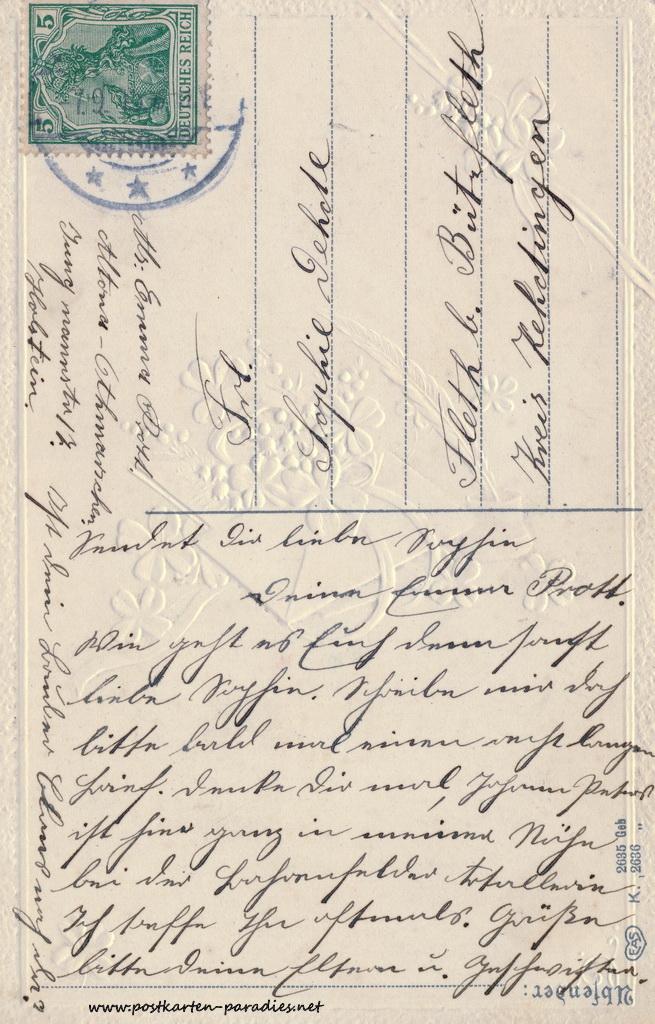 Geburtstagsgrüße,Postkarte Prägung 1905
