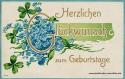 Geburtstagsgrüße,Postkarte vergissmeinnicht 1908