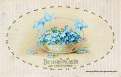 Geburtstagsgrüße,Postkarte Blumenkorb vergissmeinnicht 1914