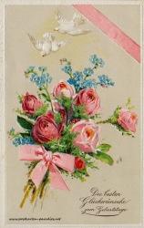 Geburtstagsgrüße,Postkarte Vergissmeinnicht Rosen