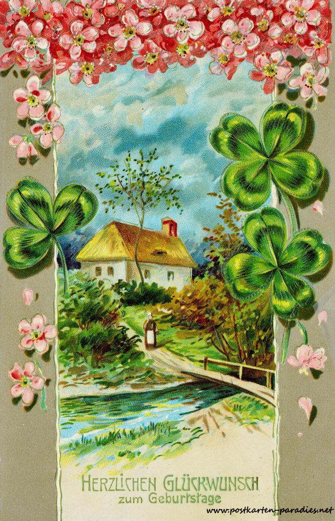 historische Geburtstagskarte, Blumen, Kleeblatt, Bauernhaus 1911