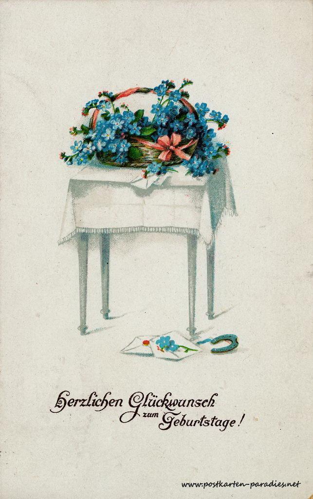historische Geburtstagskarte Vergissmeinnicht Tisch Hufeisen 1920