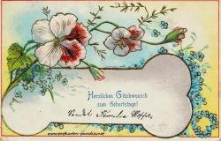 historische Geburtstagskarte Vergissmeinnicht Blumen, Prägung, Goldauflage 1906