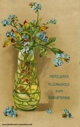 historische Geburtstagskarte Vergissmeinnicht Jugenstlvase 1916